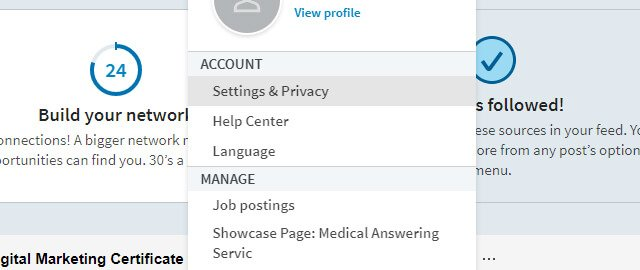 linkedin account setting for protecting social media accounts