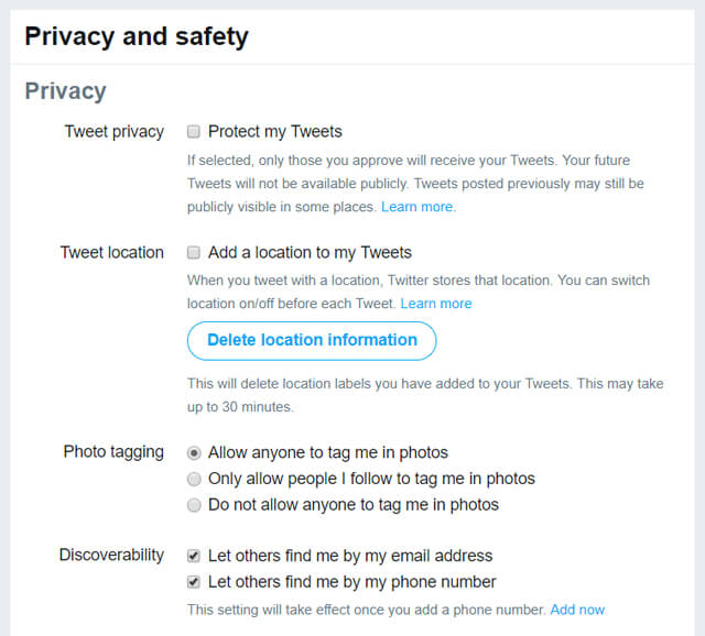 twitter privacy and safety settings